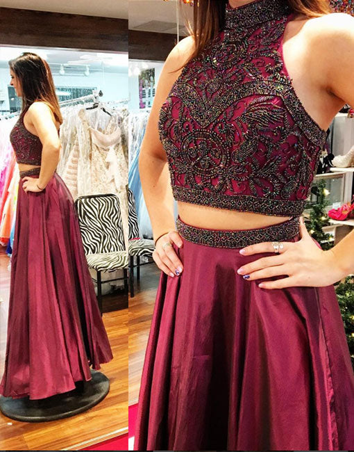 Stylish two pieces long prom dress, burgundy evening dress