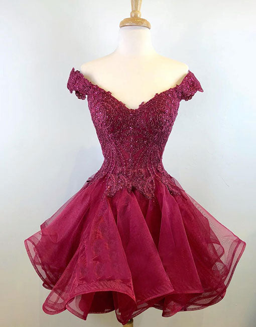 Burgundy v neck lace tulle short prom dress, homecoming dress