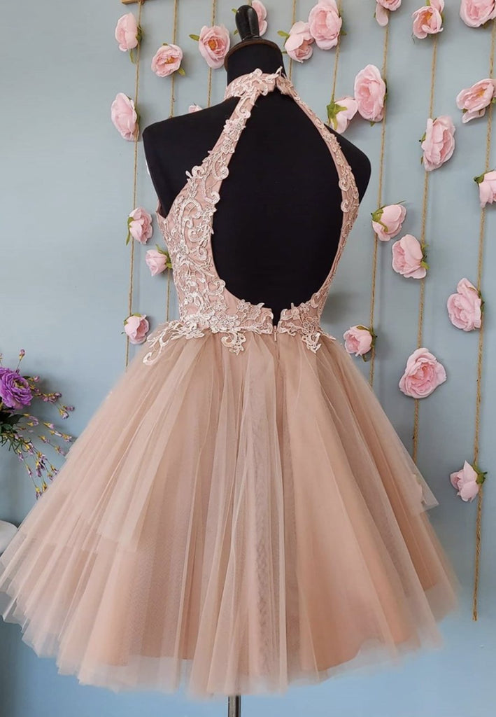 Champagne pink tulle lace short prom dress pink homecoming dress