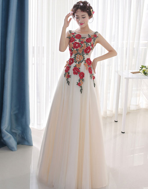 Light champagne round neck long prom dress, evening dress