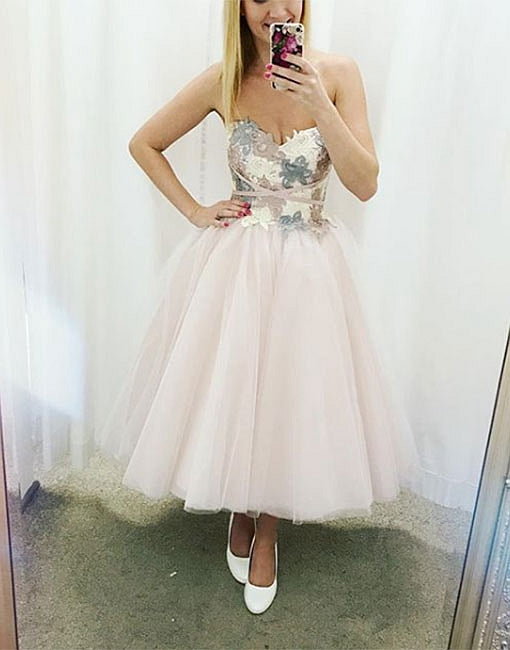 Cute sweetheart neck lace tulle short prom dress, homecoming dress
