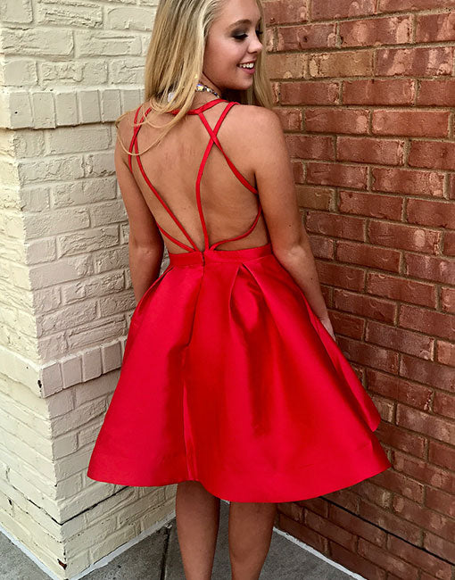 Simple red v neck short prom dress, red evening dress