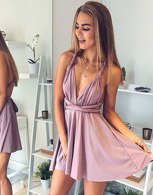 Simple v neck short prom dress, pink evening dress
