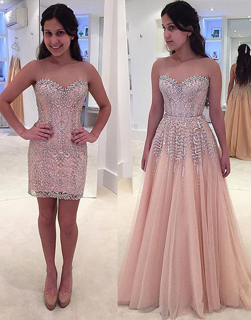 Unique champagne removable long prom dress, formal dress
