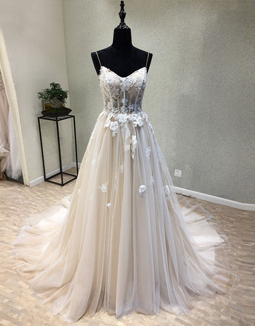 Champagne tulle lace applique long prom dress, formal dress