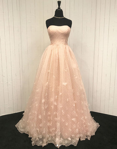 Champagne tulle long prom dress, evening dress