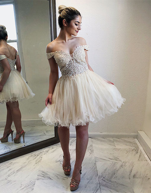 Champagne lace tulle off shoulder short prom dress, homecoming dress