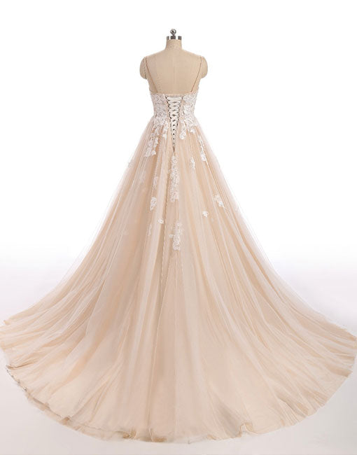 Champagne sweetheart neck tulle lace long prom dress, evening dress