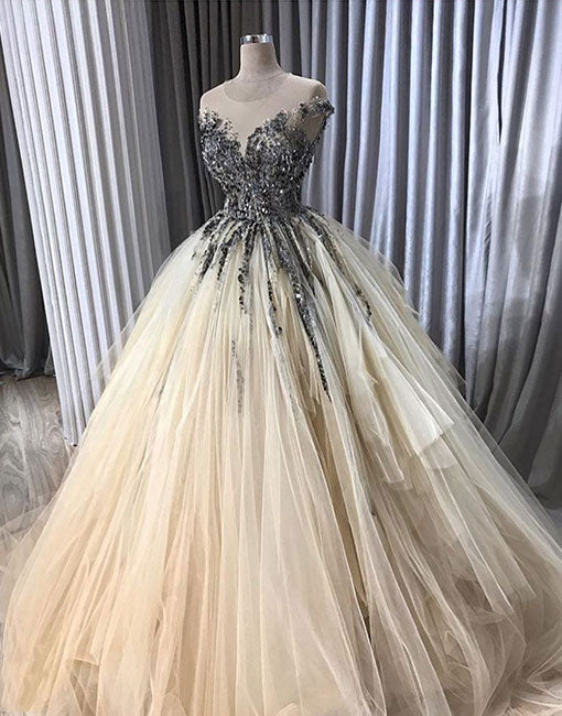 Champagne tulle long prom dress, ball gown
