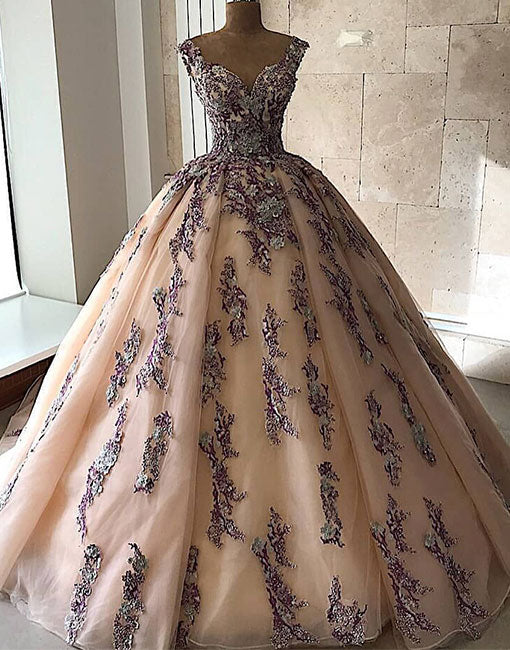 Champagne lace tulle long prom gown, evening dress