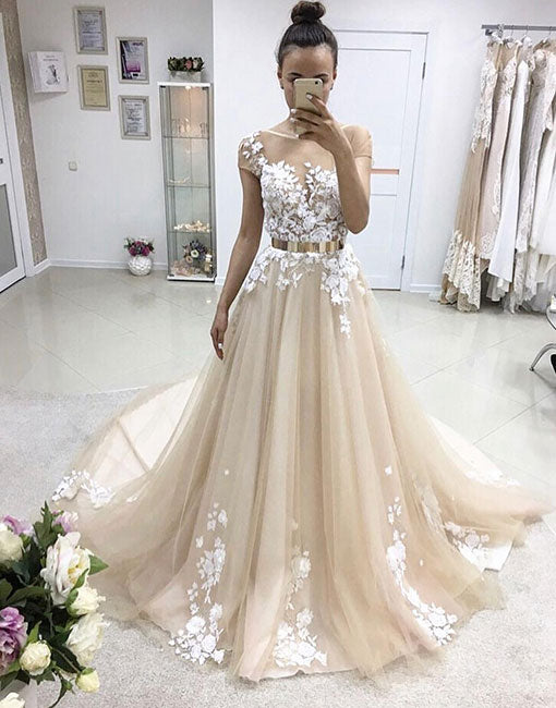 Champagne round neck tulle long prom dress, lace evening dress