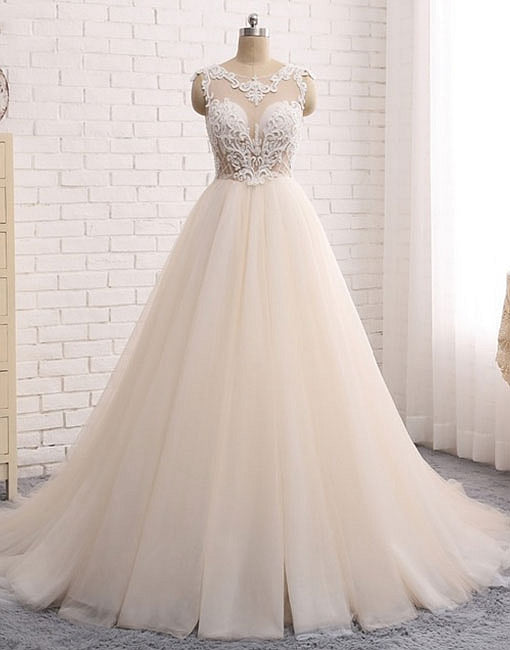 Custom made round neck lace tulle long prom gown, wedding dress