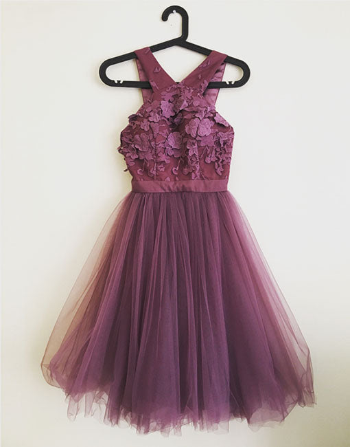 Dark purple tulle lace short prom dress, homecoming dress