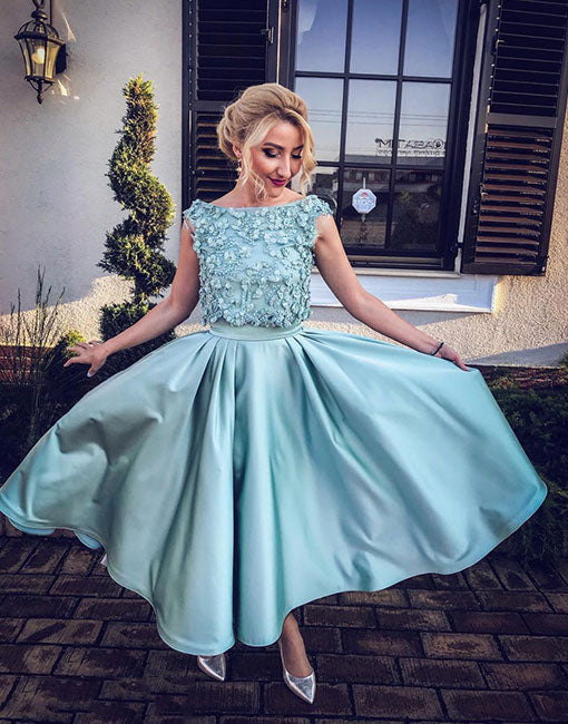 dab974e5a291 Cute blue two pieces short prom dress, homecoming dress – prom24