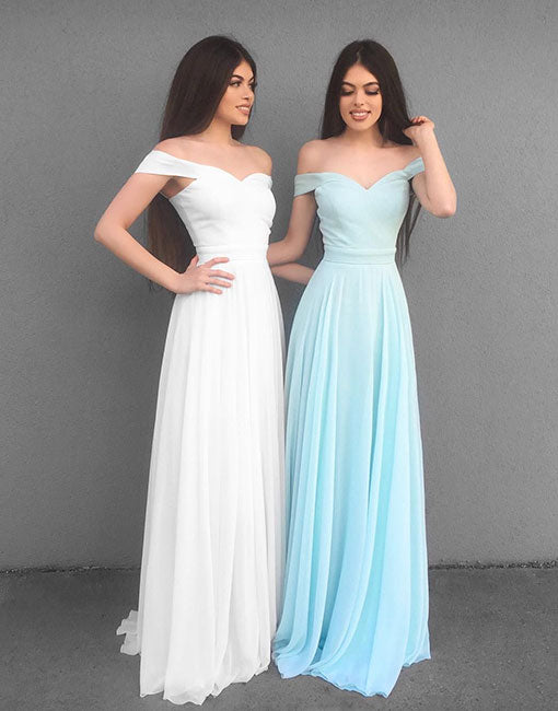 Stylish chiffon off shoulder long prom dress, evening dress