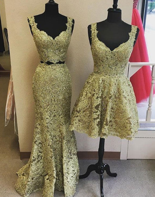 Unique gold lace v neck long prom dress, homecoming dress