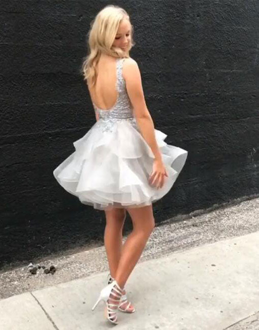 Cute v neck lace tulle mini prom dress, homecoming dress