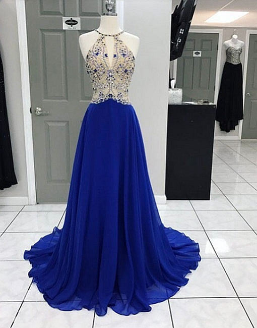 Unique royal blue chiffon A line long prom dress with beading, formal dresses