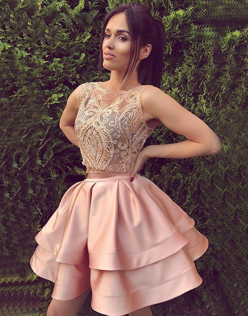 Cute round neck lace short prom dress, pink homecoming dresses