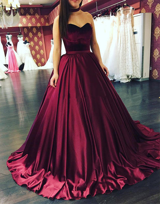 Burgundy sweetheart neck long prom gown, evening dress