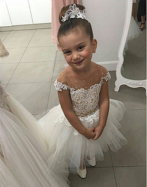 White high low lace flower girl dress, baby dress