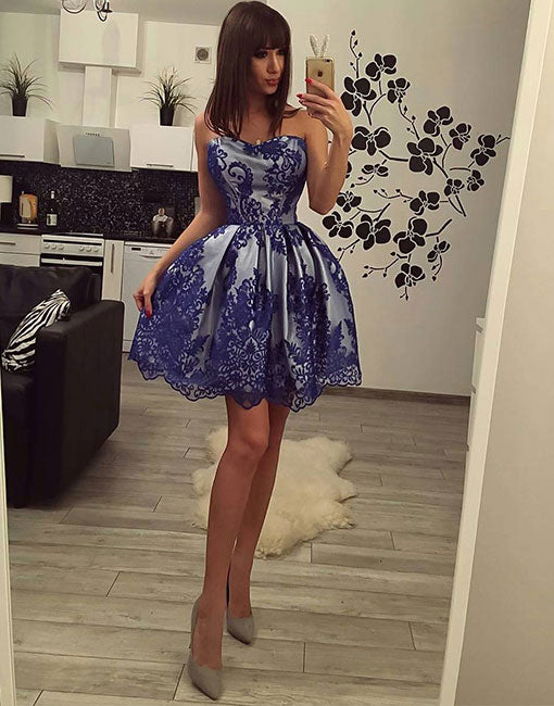 Blue lace sweetheart neck short prom dress, lace homecoming dress