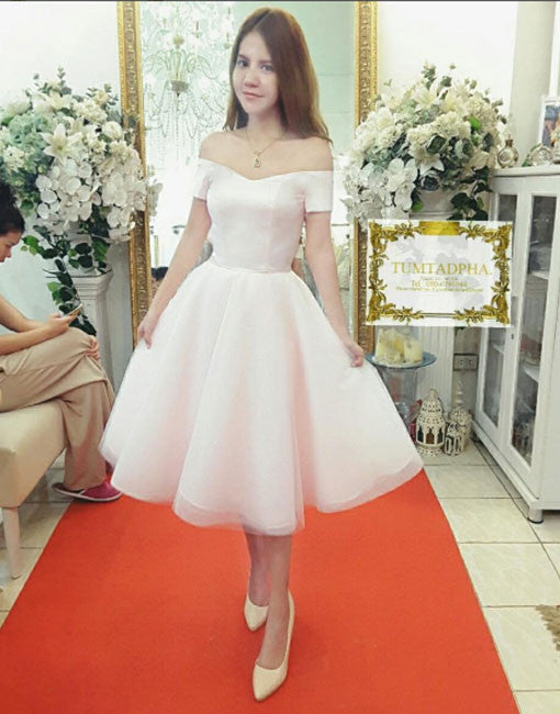 1f75a99ce37a White A line tulle off shoulder short prom dress