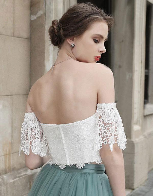 White lace tulle two pieces short prom dress, homecoming dress