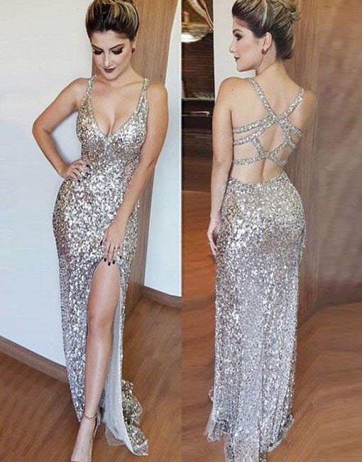 Mermaid v neck silver sequins long prom dresses, formal dress