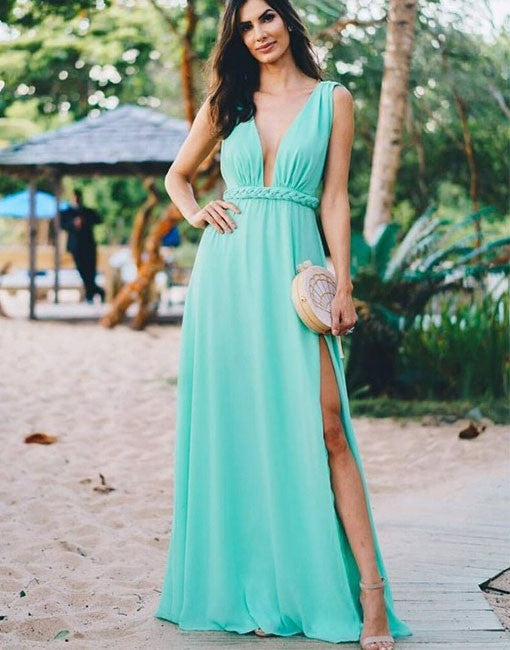 Simple blue v neck long prom dress, blue evening dresses