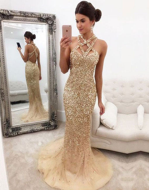 Champagne mermaid sequins long prom dress, evening dress