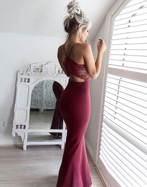 Stylish v neck lace long prom dress, burgundy evening dress