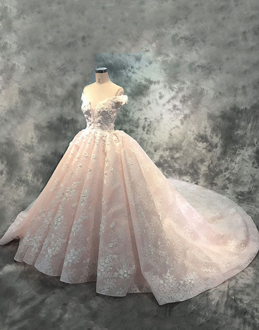Unique lace tulle long prom dress, lace wedding dress