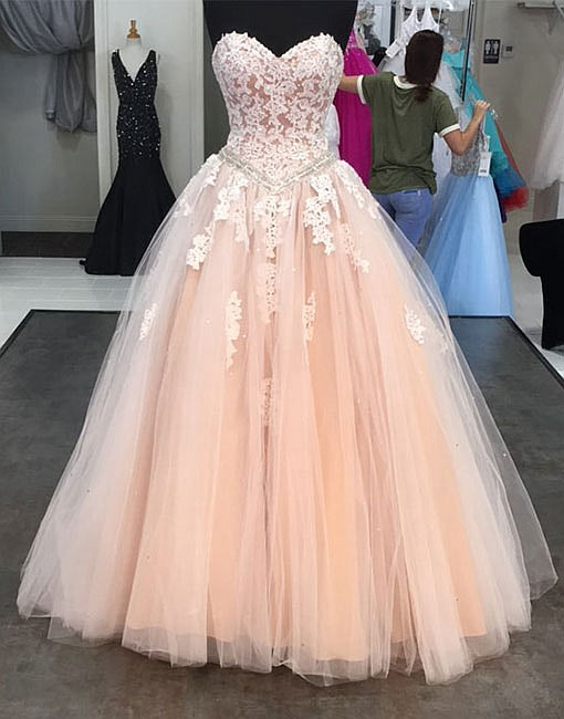 Pink sweetheart neck tulle lace long prom dress, lace evening dress
