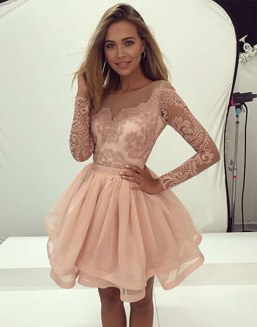 8d85cad5e33 Cute round neck tulle lace short prom dress