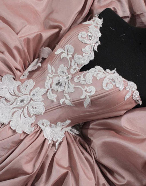 Pink A line satin lace long prom dress, pink evening dress