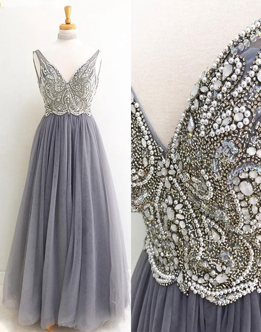 Gray v neck tulle beading long prom dress, formal dress