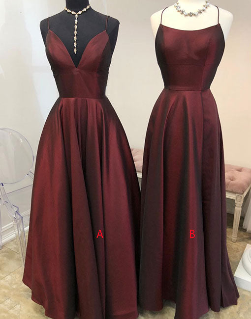 Burgundy long prom dress, simple evening dress