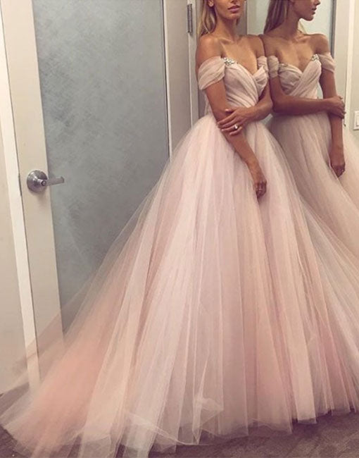 Light pink tulle long prom dress, formal dress