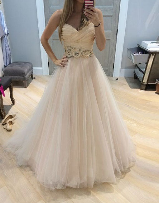 Light champagne A line tulle long prom dress, formal dress