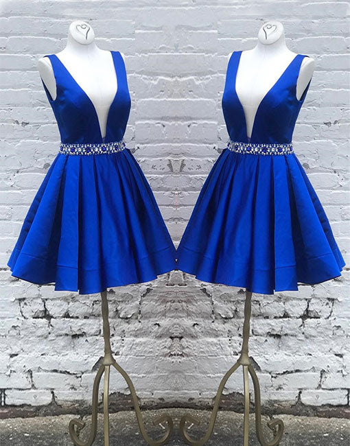 Cute blue v neck short prom dress, blue evening dress