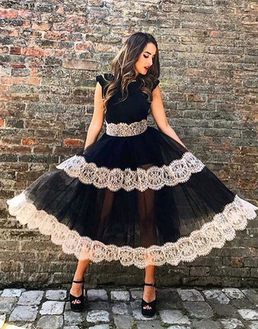 Black lace tulle short prom dress, homecoming dress