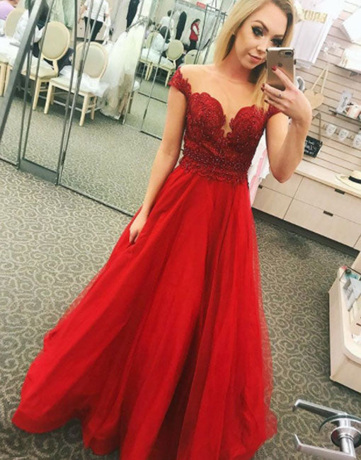 Stylish red lace tulle long prom dress, red evening dress