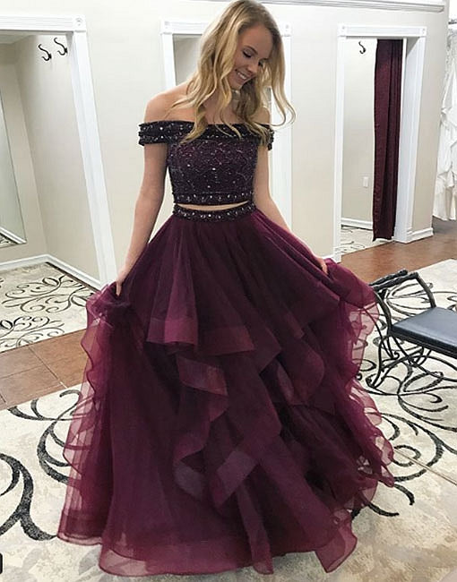 Dark purple tulle long prom dress, two pieces evening dress