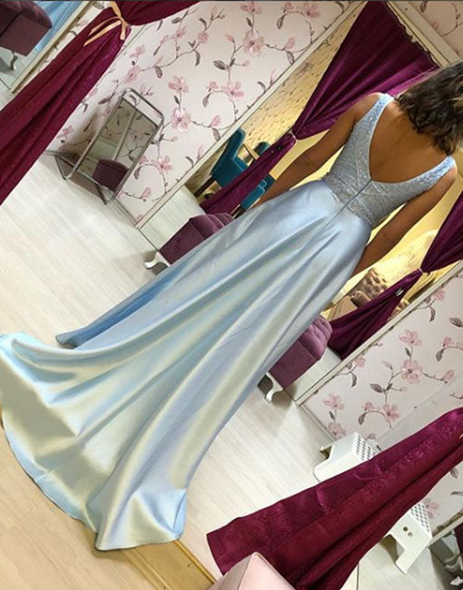 Light blue v neck satin long prom dress, evening dress