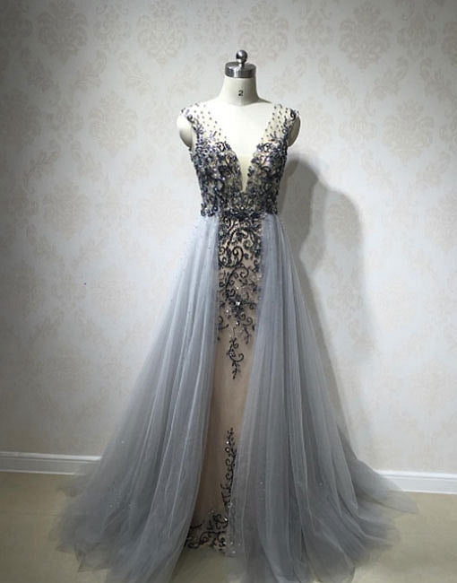 Unique v neck gray tulle long prom dress, formal dress