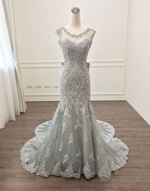 Gray lace mermaid long prom dress, gray evening dress