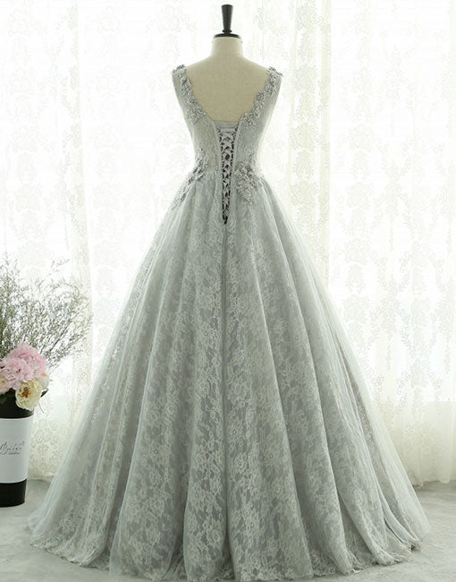 Gray lace tulle long prom dress, gray evening dress