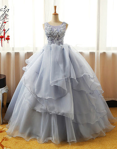 Gray round neck lace tulle long prom dress, ball gown
