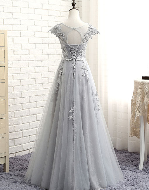 Gray round neck tulle lace long prom dress, lace evening dress